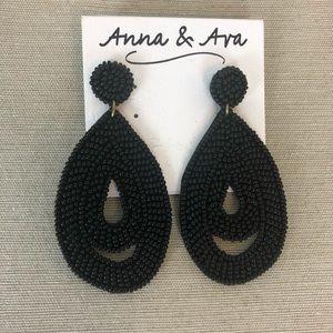 NWT - Anna & Ava Beaded Black Teardrop Earrings